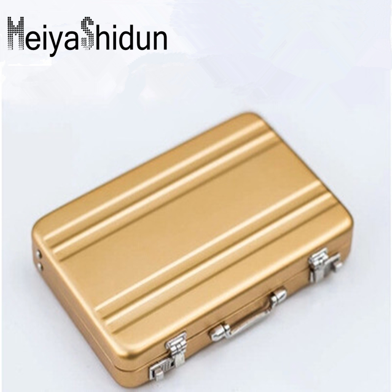 MeiyaShidun Busines ID Credit suitcase Card Holder slim RFID Wallets Hasp Purse Case Creative Aluminum Mini para mujer protector