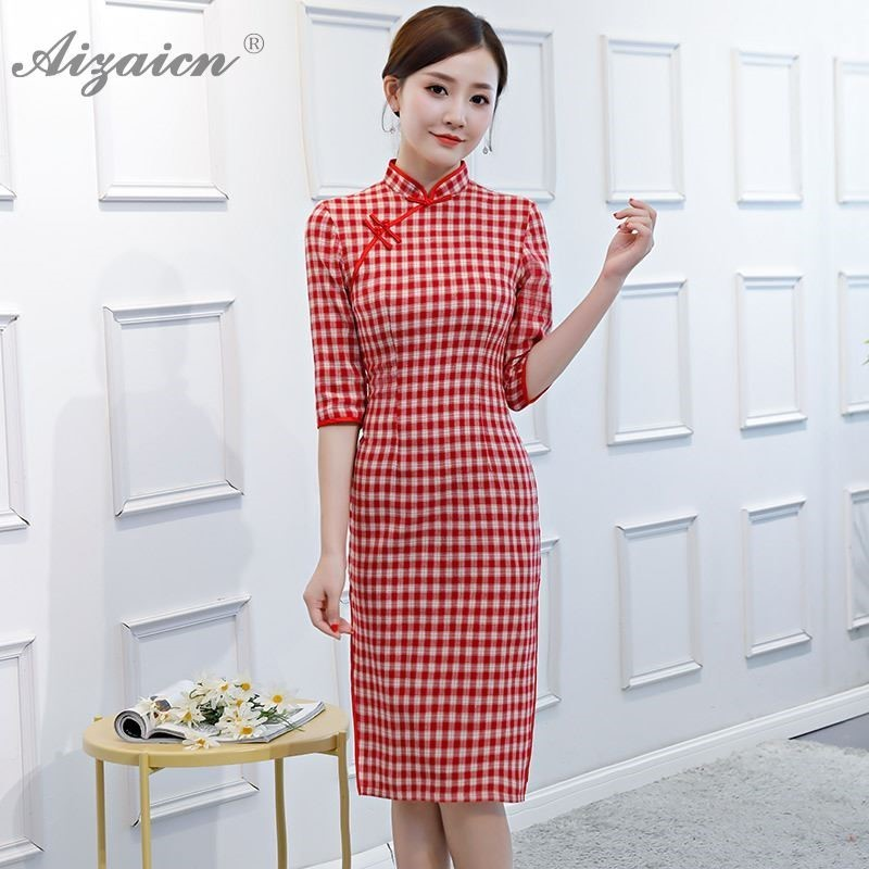 New 2019 Summer Slim Cotton Cheongsam Long Dresses Oriental Style Retro Plaid Qi Pao Women Chinese Traditional Clothing Qipao