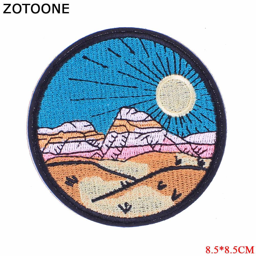 ZOTOONE 1 sztuk okrągłe UFO parches haftowane żelazko na plastry na odzież plecak motyw DIY paski naszywki na ubrania odznaki E