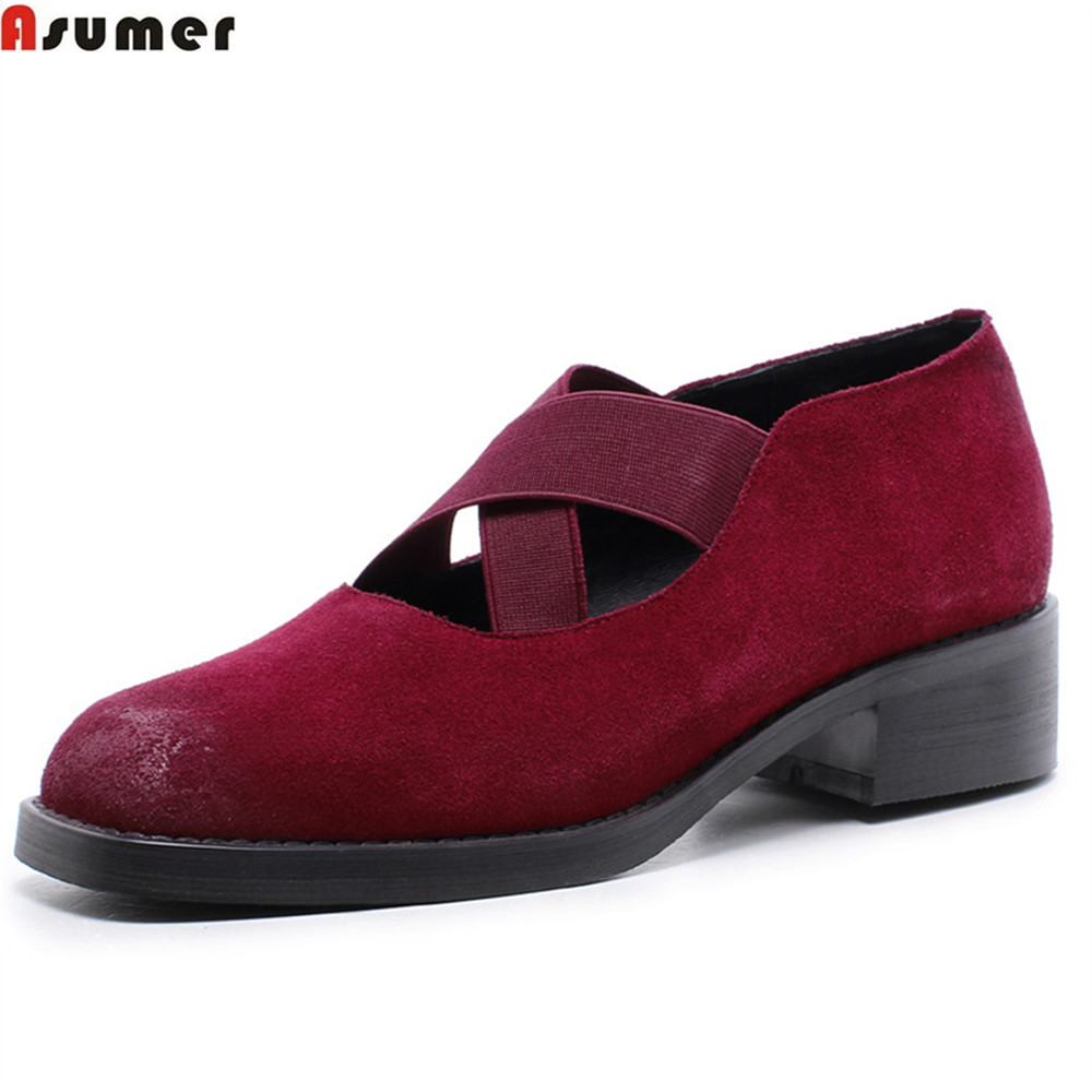 Asumer black wine red fashion spring autumn ladies shoes square toe casual brogue shoes women genuine leather med heels shoes asumer 2018 spring autumn casual ladies single shoes square toe shallow comfortable women genuine leather flats shoes