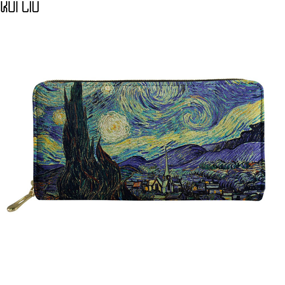 Customized Vincent Van Gogh Starry Night Print Wallets Women Clutch Leather Bags  ID Card Cell Phone Wallet Cool Purses Bolsas