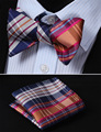 Pocket Square Classic Wedding Party BC4011KS Caliente Rosa Cheque Hombres Pajarita de Seda Auto Pajarita pañuelo set