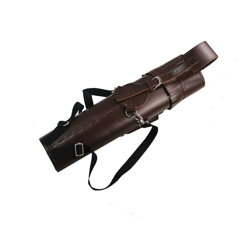 Archery Arrow Quiver Leather Brown PU  Quiver Back Side Holder Bag with Braces for Archery Hunting Shooting Outdoor