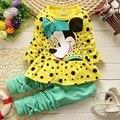 2017 Primavera crianças meninas conjuntos de roupas rato meninas do bebê roupas de outono arco tops t shirt leggings calças do bebê crianças 2 pcs terno