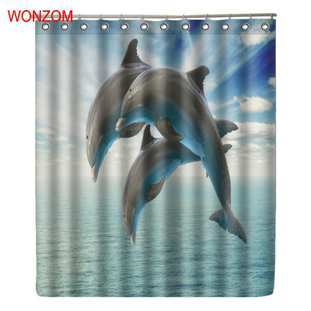WONZOM Dolphin Shower Curtains With 12 Hooks For Bathroom Decor Modern Animal Bath Waterproof Curtain Gift