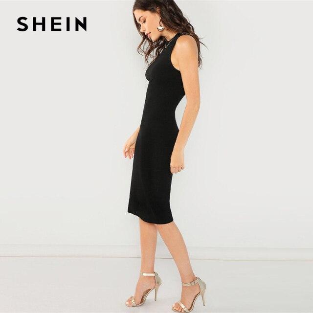 SHEIN Black Elegant Solid Pencil Dress Slim Sleeveless Knee Length Sexy Workwear Dresses Women Plain Sheath Summer Dress 2