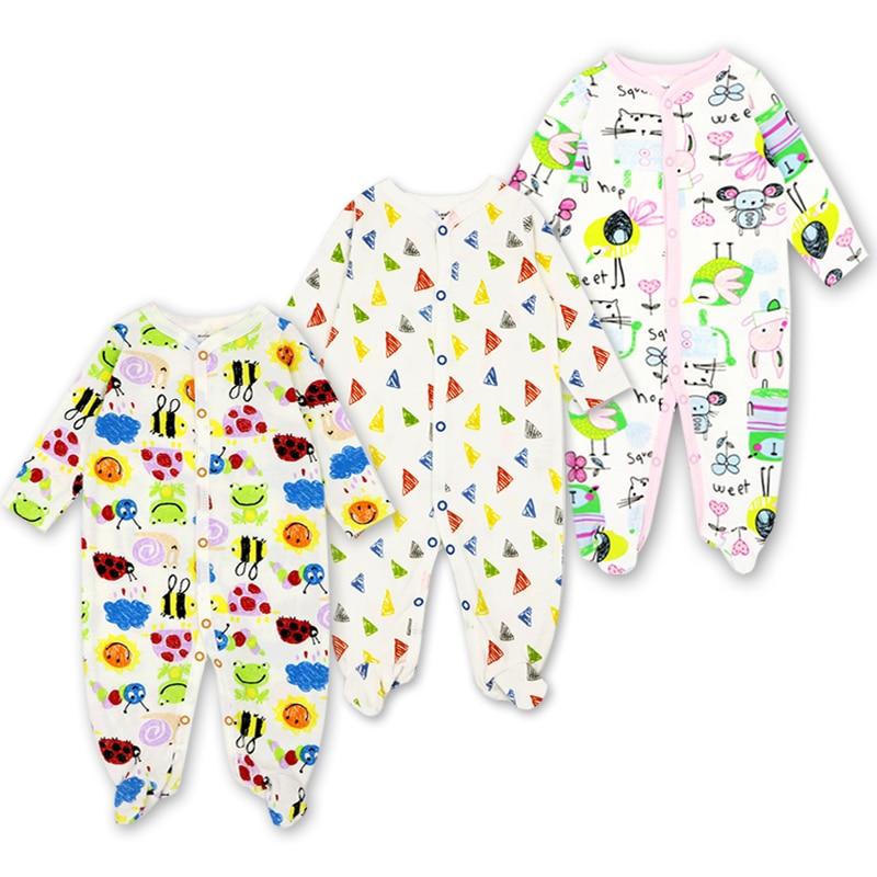 3 Pack bebé recién nacido Niño niñas pijamas 0-12 meses impresión linda de la historieta del mameluco de los bebés