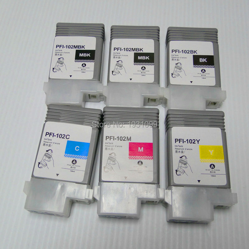 все цены на 6pcs Empty refillable ink cartridge for canon PFI-102 PFI102 PFI 102 for canon IPF 500/510/600/610/700/710 with chip онлайн