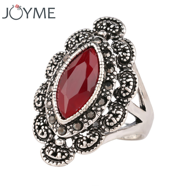 Top Designer Indian Jewelry Punk Black Ring Rhinestone Silver Plated