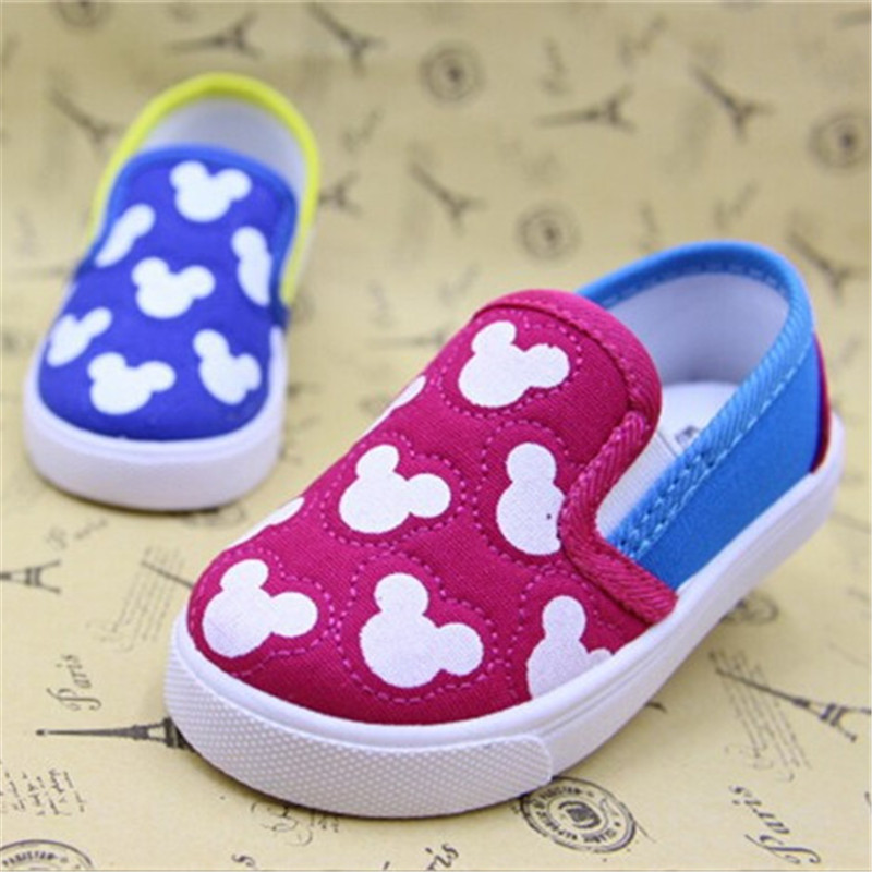 2015 new children kids boys girls baby canvas shoes cartoon mouse soft bottom board Sneakers loafers first walker Toddler Shoes