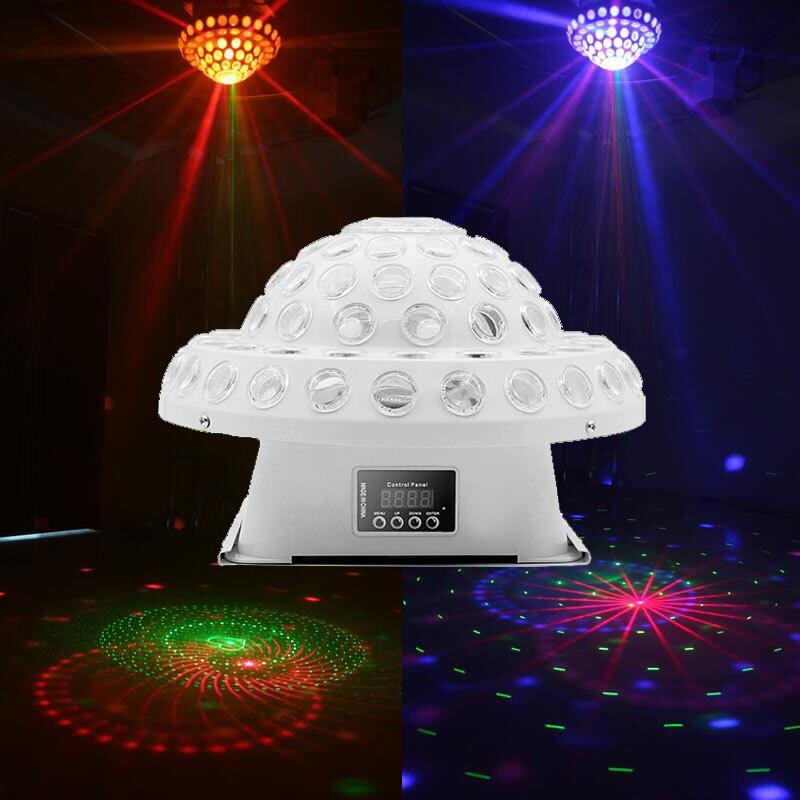 Волшебный хрустальный вращающийся лазерный светильник со звуковым управлением, цветной светодиодный, домашний, вечерние, эффективный свет...