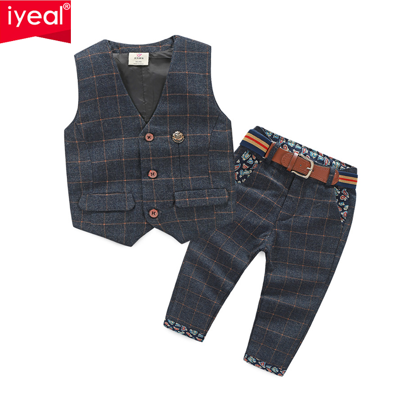 New Arrival Baby Boy Clothes Sets Plaid Gentleman Suit Infant Toddler Boys Vest+Pants Children Kids Clothing Set Outfits 2-8 Age women s fashion eiffel tower flower rhinestone inlaid earrings purple golden pair