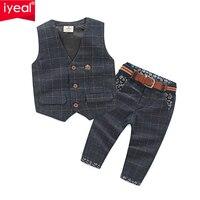 New Arrival Baby Boy Clothes Sets Plaid Gentleman Suit Infant Toddler Boys Vest+Pants Children Kids Clothing Set Outfits 2 8 Age