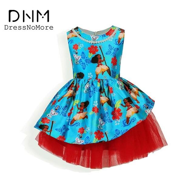 Dressnomore Nuevo 2017 Niñas vestido de Bola de Partido de la Princesa Vestido de la Impresión de la Historieta Moana Traje de Princesa Niños Vestidos Para Niñas Ropa