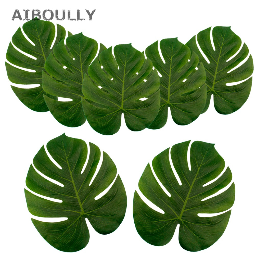 12pcs/pack Artificial Tropical Palm Leaves Simulation Leaf For Home ...