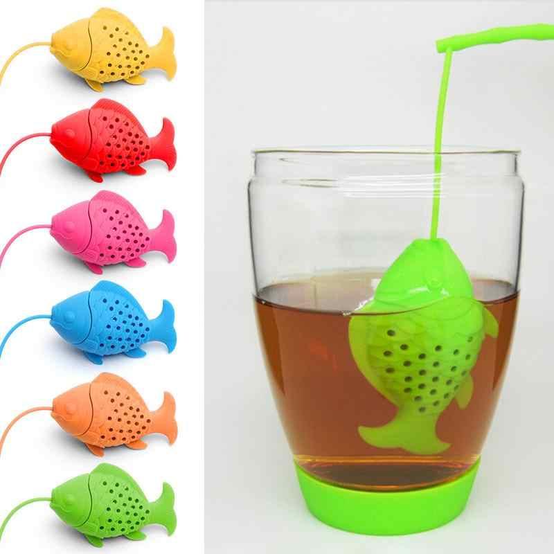 Infusor de té de silicona forma de pez reutilizable Animal té colador bolsa té verde filtro Infusor herramienta de cocina