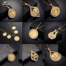 Never Faded Big Size Turkey Coin Pendant & Necklaces with AAA Crystal for Women Gold Color Turkish Coins Jewelry Ethnic Gifts(China)