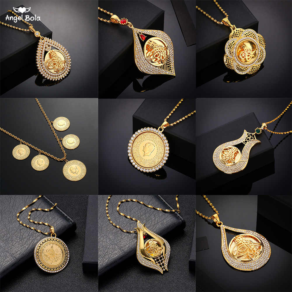 Nigdy nie wyblakłe duży rozmiar turcja moneta wisiorek i naszyjniki z AAA kryształ dla kobiet złoty kolor turecki monety biżuteria etniczna prezenty