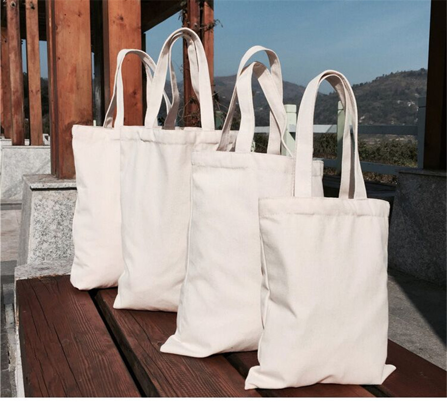 500Pcs/Lot Eco-Friendly Canvas Shopping Bags 100% Thick Cotton Reusable Grocery Tote Bags Cotton With Customized Logo Printing