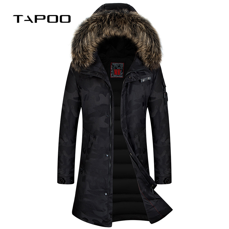 Мужские зимние куртки на утином пуху 90%, толстые теплые длинные пуховые пальто, мужские камуфляжные пальто с меховым воротником и капюшоном,