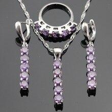 Creado Amethyst Púrpura de Plata Sistemas de La Joyería Para Las Mujeres de Color Collar Colgante Pendientes de Gota Largos de Navidad Anillos Caja de Regalo Libre