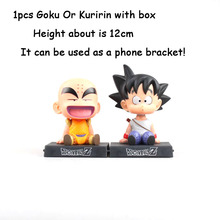 DIANXIA Anime Dragon Ball Z Goku Kuririn Car Decoration Shaking His Head Doll Phone Bracket Action Figure Toy Height About12cm