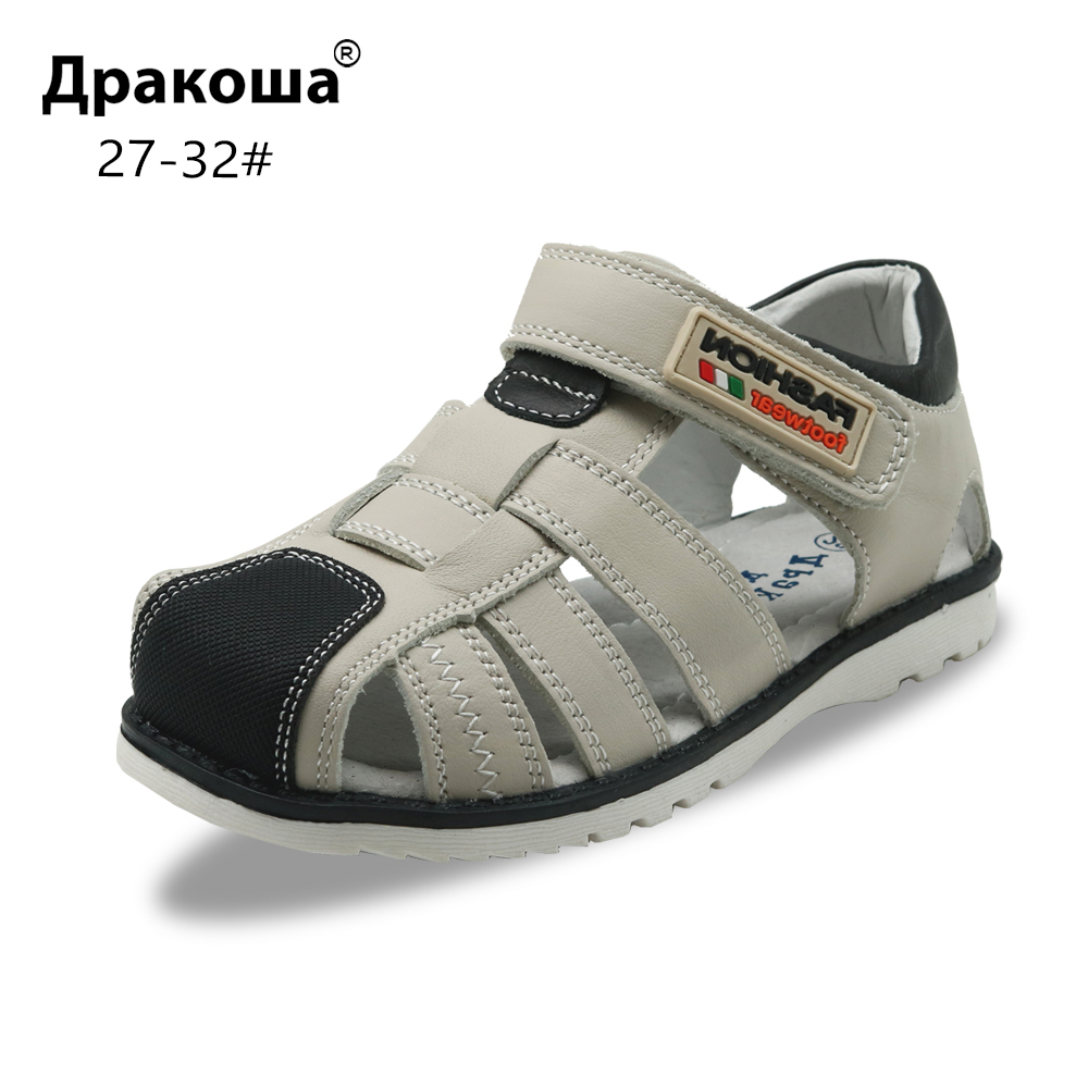 Apakowa Little Boys Summer Closed Toe White Black Navy Sandals Kids Leather Gladiator Hook And Loop Sandals With Arch Support
