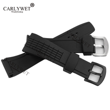 CARLYWET 26mm Black Strap Waterproof Rubber Replacement Watch Band Belt Special Popular with steel Buckle For 4LJ7KB