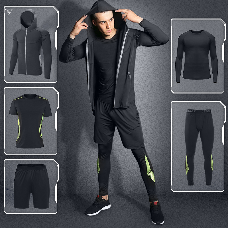 2018 Sports Suits Men Elastic Quick-dry Running Basketball Fitness Sets Male Training Sportswear Clothes Sets Gym Workout 5pcs authentic nike men s summer training running sports pants fast dry shorts