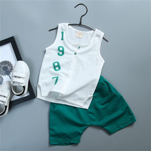 Summer baby girl boy clothes 100% cotton 2018 new active casual children baby clothes Vest+pant kid suit 0-4 years clothing set
