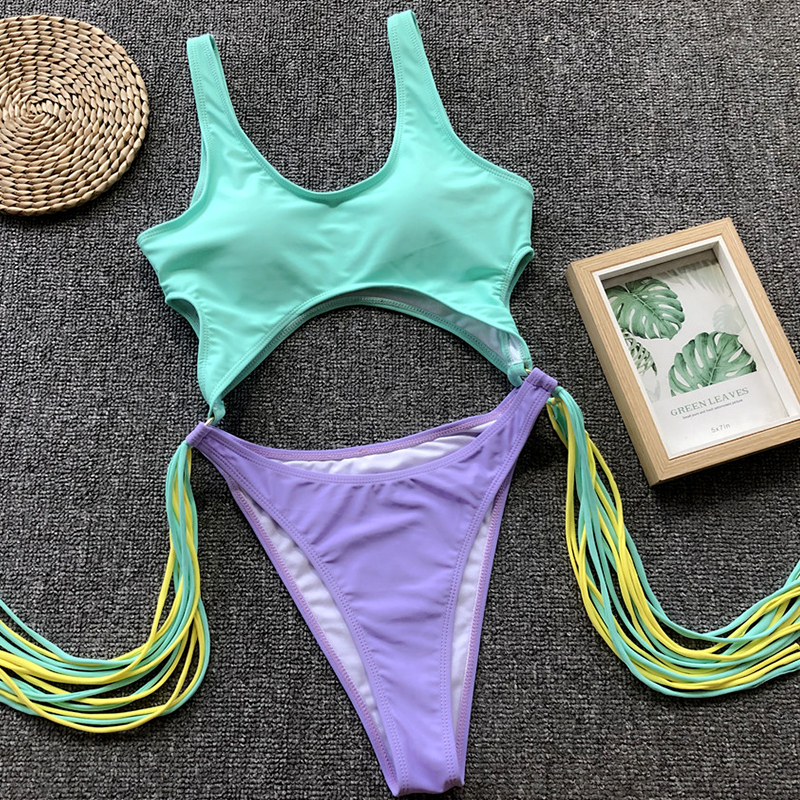 2019 Leopard brazilian one piece swimsuit String monokini Sexy High cut bikini Push up swimwear Tassel one-piece suits swim suit