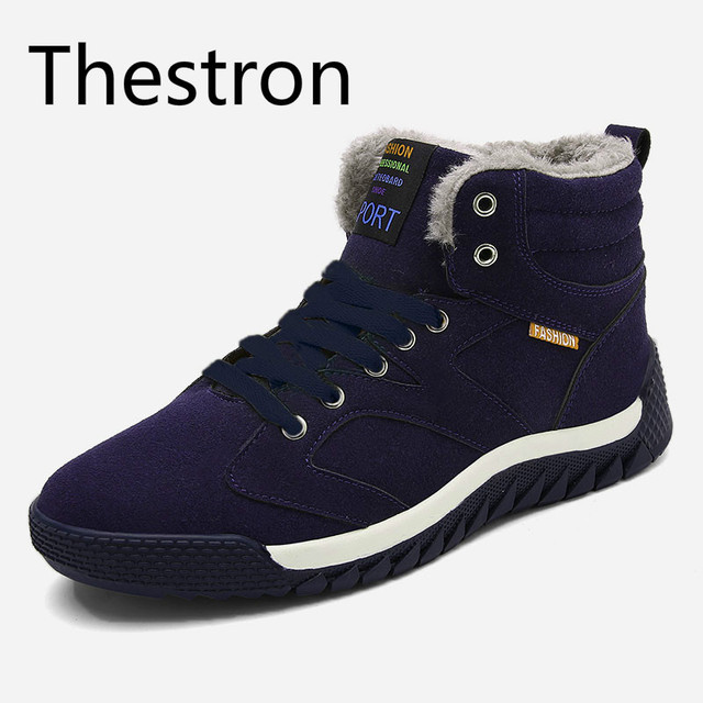 Thestron Running Shoes Men Sneakers High Top Men Plus Cashmere Warm Cold Blue Black Winter Men Shoes 2017 Winter Snow Boots 11