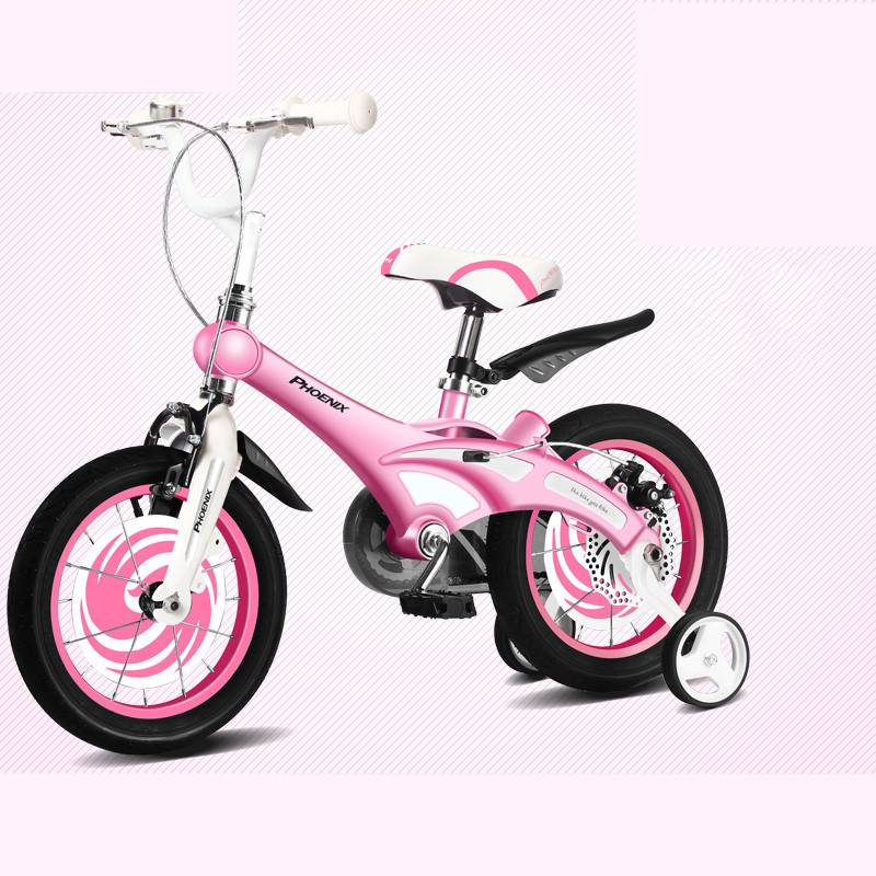 Perfect New Brand Magnesium Alloy Frame Child Bike 12/14/16 inch Auxiliary Wheel Dual Disc Brake Bicycle Boy Girl Children buggy 1
