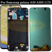 Super AMOLED Voor Samsung galaxy A30 lcd 2019 Touch Screen Digitizer Vergadering A305/DS A305F A305FD A305A SM A305F/ DS met frame