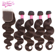 Queen Love Hair Pre-Colored 100% Human Hair Brazilian Body Wave  Hair Extensions 4 Bundles With Closure Non Remy Hair Bundles