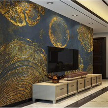 цена beibehang  papel de parede 3D   Custom wallpaper   Gold Foil Texture Abstract Ring Retro American TV Background Wall wall paper