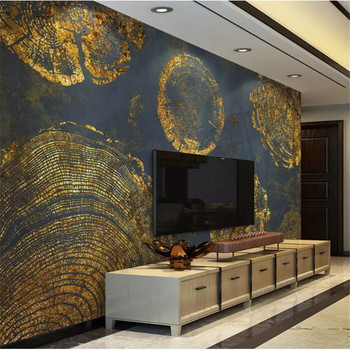wellyu  papel de parede 3D   Custom wallpaper   Gold Foil Texture Abstract Ring Retro American TV Background Wall wall paper wellyu custom wallpaper 3d nordic modern minimalist white feather living room tv background wall papel de parede 3d wallpaper