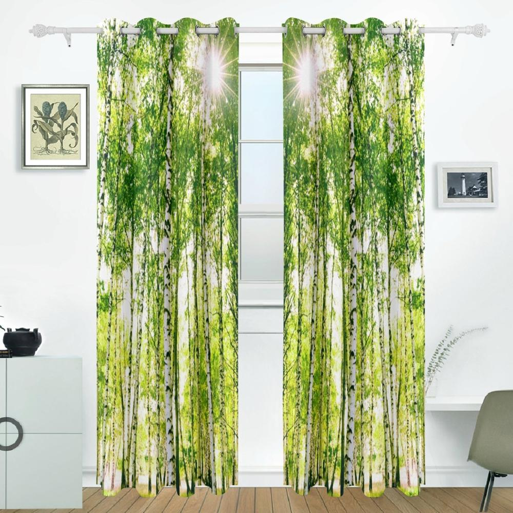 Birch tree curtains drapes panels darkening blackout - Curtains for sliding glass doors in bedroom ...