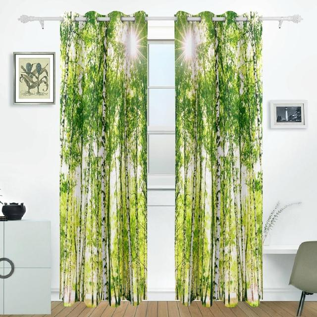 Birch Tree Curtains Drapes Panels Darkening Blackout Grommet Room Divider  For Patio Window Sliding Glass Door