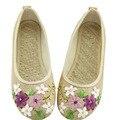 2017 Весна Ретро Стиль Женская Обувь Старый Пекин Квартиры Китайский Цветок Вышивка Льняной Холст Обувь sapato feminino Большой Размер 42
