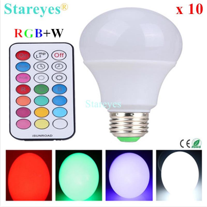 Free shipping 10 Pcs E27 10W RGB + W LED Bulb Light RGB White LED desk Lamp downlight droplight lighting with Remote Controller