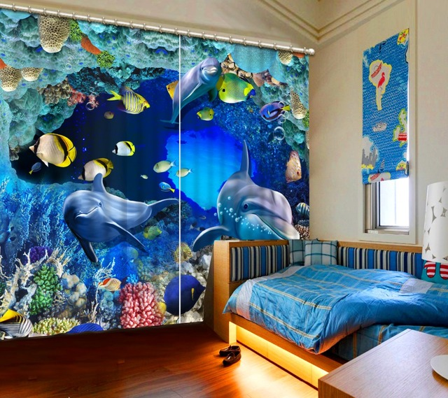 Modern Elegant Style 3d Curtains The Underwater World Decorate Home Drawing Room Bedroom Living Window Curtain