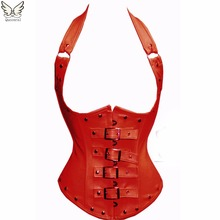leather corset underbust corset  Steampunk waist corsets and bustiers sexy steampunk clothing gothic corset women modeling strap