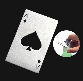 Abridor de botellas de cerveza de plata negra 100 Uds., carta de póker, herramienta de Bar Ace of Spades, abridor de tapas de Soda, regalo, utensilios de cocina