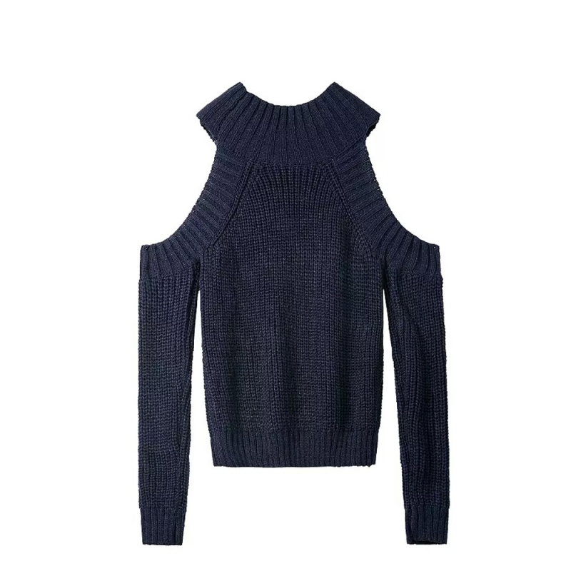 HYH HAOYIHUI 2018 Brand New Autumn Women Fashion High Collar Pullover Sexy Long Sleeve Off Shoulder Solid Casual Loose Sweater in Pullovers from Women 39 s Clothing