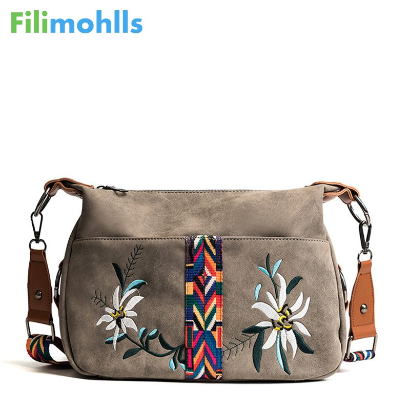 Vintage Floral Embroidery Bag Wide Strap Handbag Shoulder Crossbody Bags For Women Messenger Bags Small Bolsa Feminina S1359