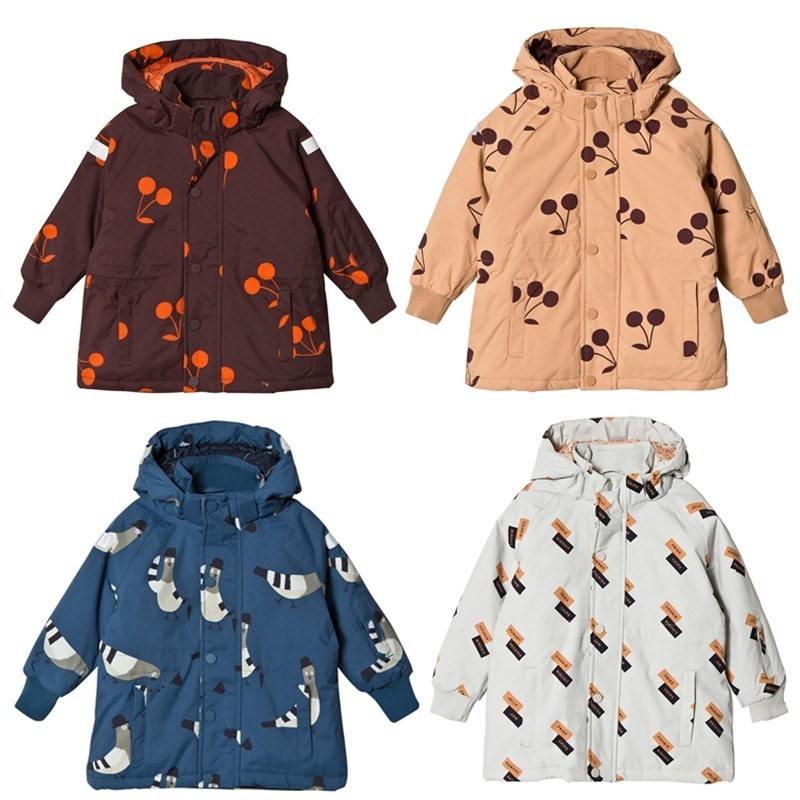 Kids Jacket 2018 Tiny Cottons Brand Winter Boys Girls Cherry Print Thicken Hooded Coat Baby Children Cotton Warm Cotton Outwear