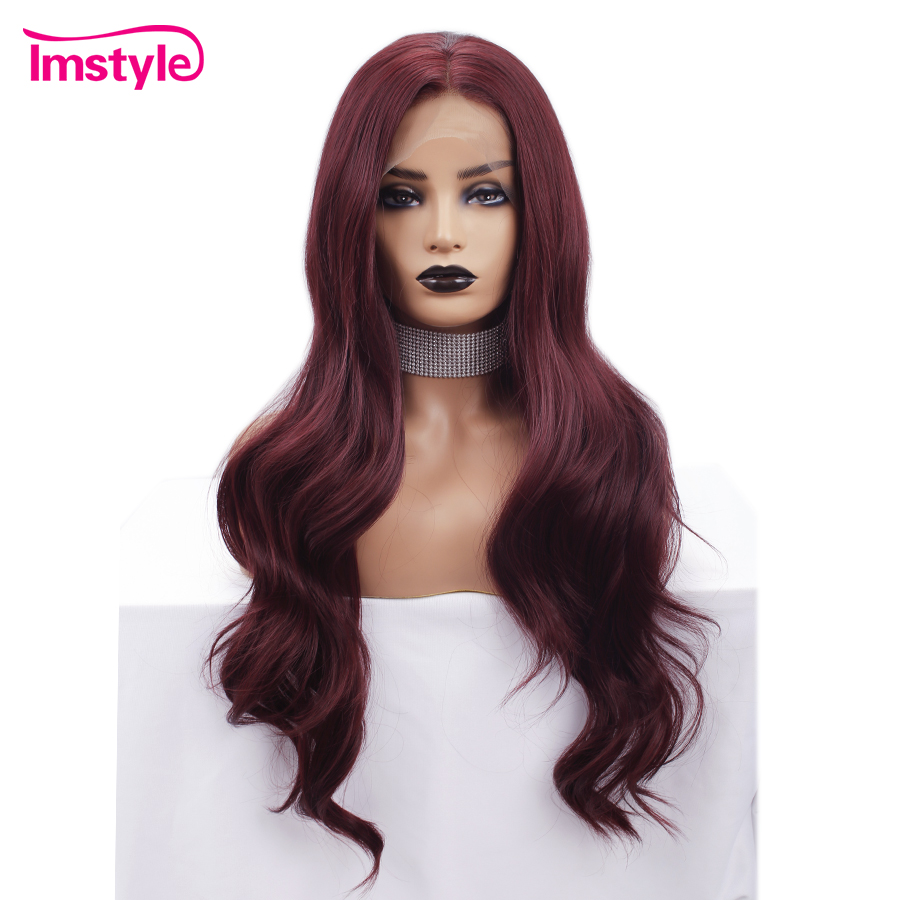 Imstyle 99J Red Wig Synthetic Lace Front Wig For Black Women Long Wavy Wigs Heat Resistant Fiber Natural Hair Cosplay Wig