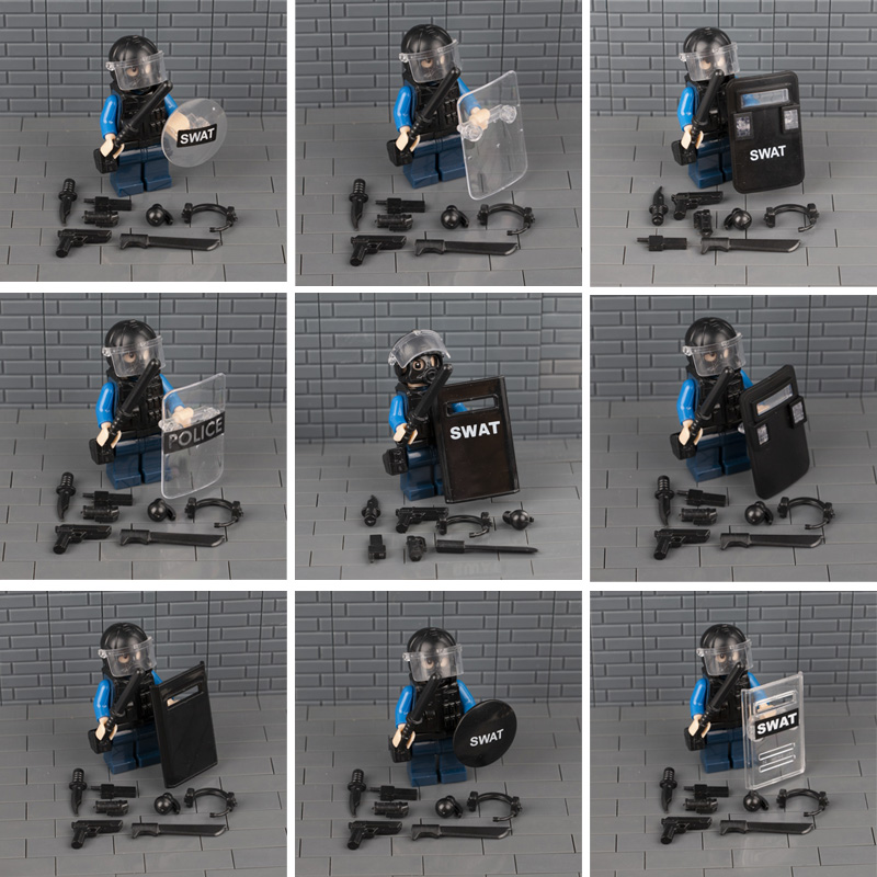 Police Weapon Bricks SWAT Shield Military Soldiers Helmet Building Blocks Gas Mask Accessories Brick Toy For Children guerre moderne lego