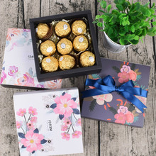 50 Pcs Gift Candy Box For Wedding Party Birthday Flowers Sakura Drawer Paper Cake Chocolate Packaging Cardboard